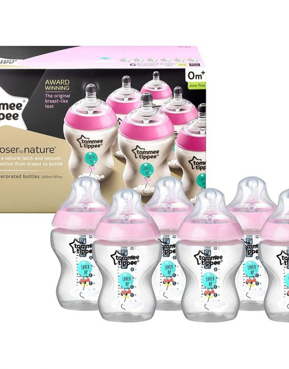 Tommee-Tippee-Closer-To-Nature-260ml-Bottles-6Pack-Pink-Balloon-2